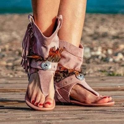 Stylish Suede Flat Sandals
