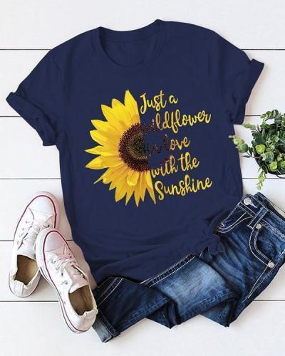 Women Crew Neck Short Sleeve Print Cotton T-shirt