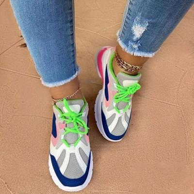 Lace-Up Low-Cut Upper Round Toe Color Block Sneakers