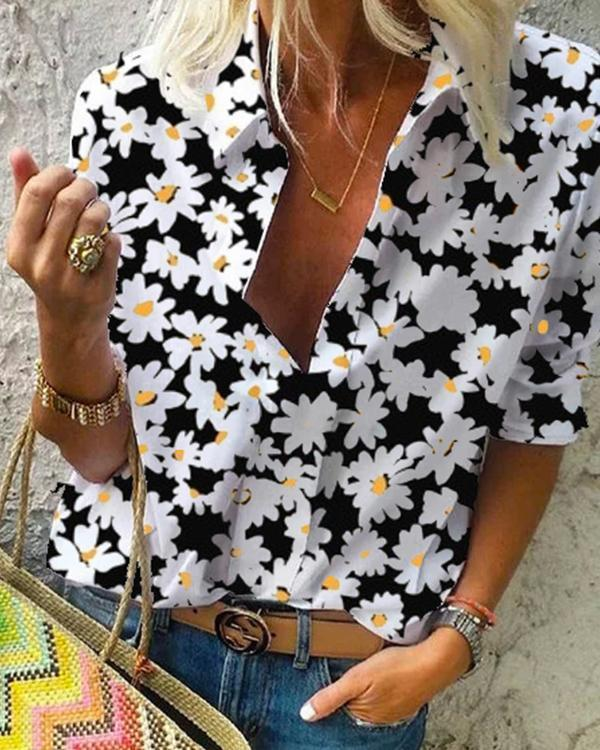 Floral-Print Floral Shift Boho Shirts & Tops
