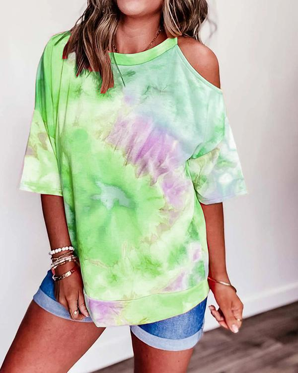 Cold Shoulder Gradient Print Paneled Casual T-shirt
