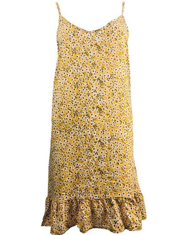 Chic Floral Slip Camisole Neckline Shift Dress