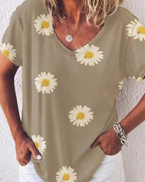 Women Two Different Pattern Comfy T-shirt