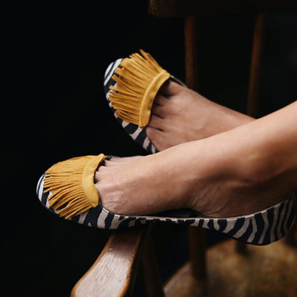 Women PU Flat Heel Flat Shoes with Tassel Shoes
