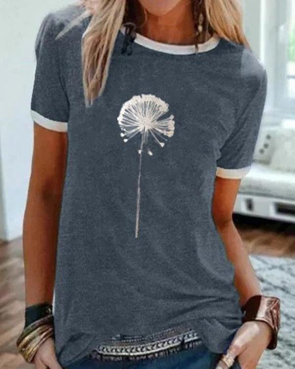 Vintage Short Sleeve Statement Dandelion Printed Crew Neck Plus Size Casual Tops