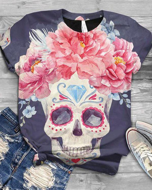 Skull Printed Short Sleeve Crew Neck Shirts & Tops