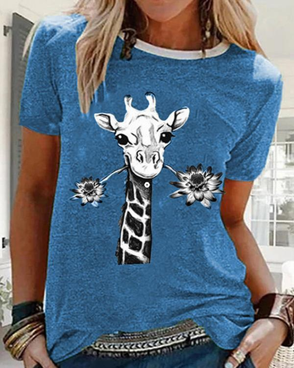 Crew Neck Printed Cotton-Blend Short Sleeves Tops