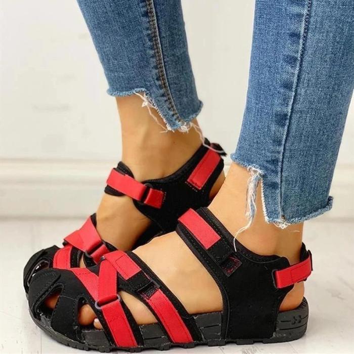 Womens Velcro Design Cutout Flat Sandals