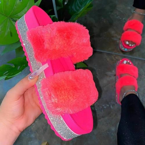 Women Faux Fur Rhinestone Slip On Slippers