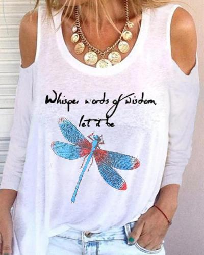 Butterfly Print Long Sleeve Casual Shirts & Tops