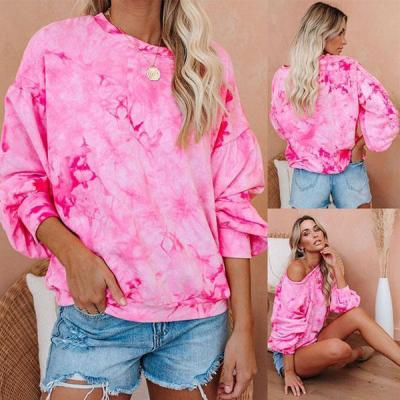 Long Sleeves Tie Dye Casual T-shirts