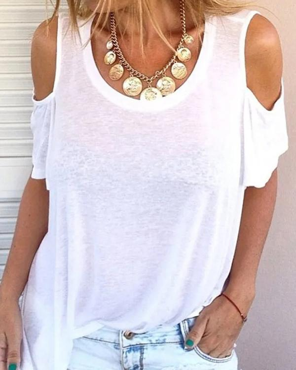 Women Tops Cold Shoulder Round Neck Sexy Casual T-Shirts