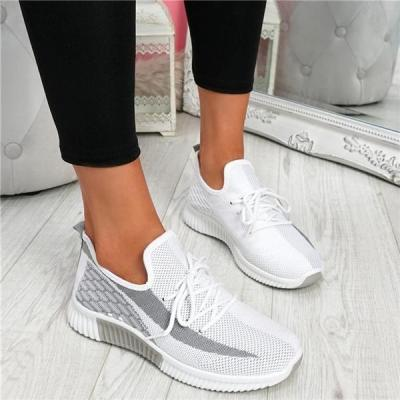 Women Flyknit Fabric Hit Color Lace Up Breathable Sneakers