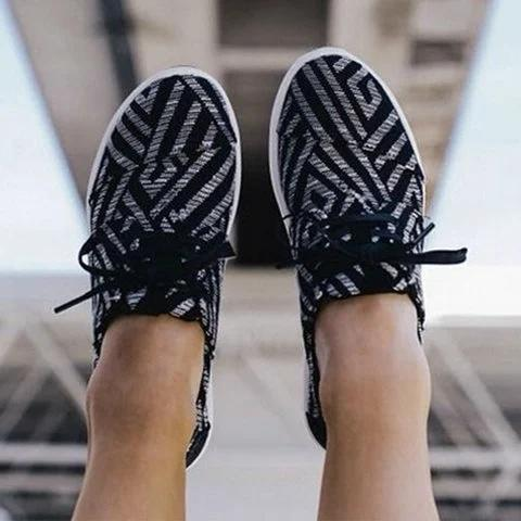 Canvas Flat Heel Sneakers
