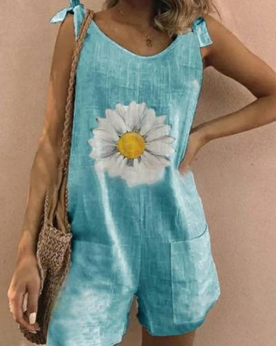 Daisy Print Tie Sleeveless Holiday Paneled Pockets Romper