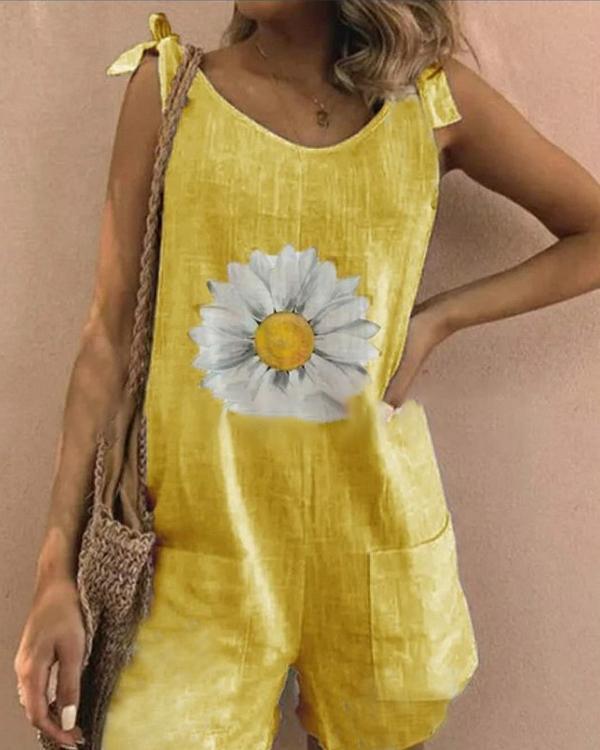Daisy Print Tie Sleeveless Holiday Paneled Pockets Romper