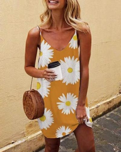 Daisy Printed Boho Mini Dress