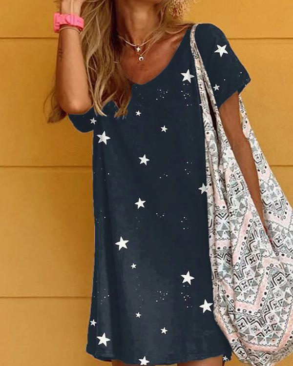 Star Printed Holiday Casual Short Sleeve Dresses