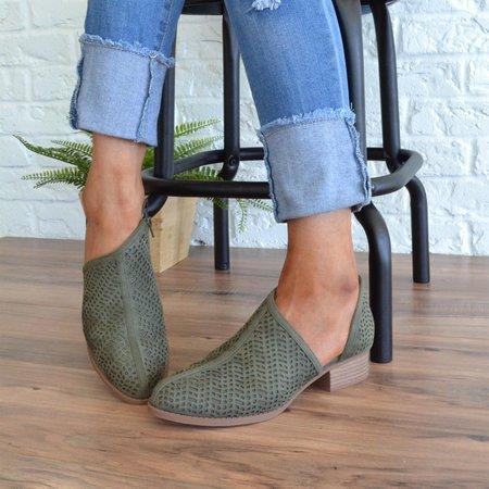 Low Heel PU Slip-On Shoes Hollow Chunky Heel Boots