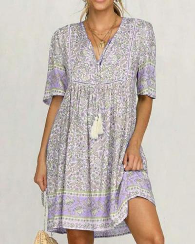 Holiday Vintage Floral-Print Light Blue Half Sleeve V Neck Cotton-Blend Dresses