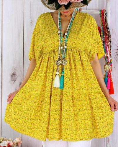 Plus Size Women Floral Holiday Dresses Shift Daytime Mini  Dresses