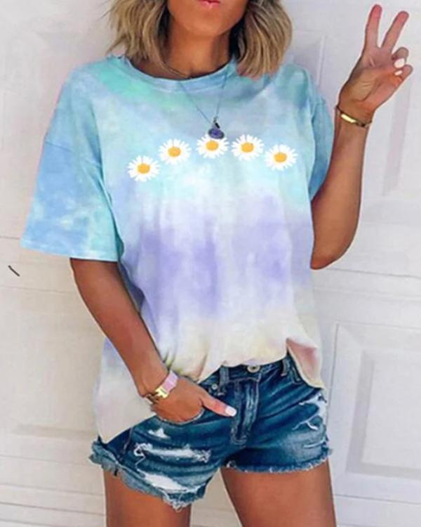 Daisy Tie-Dye Print Crew Neck Casual T-Shirts & Tops