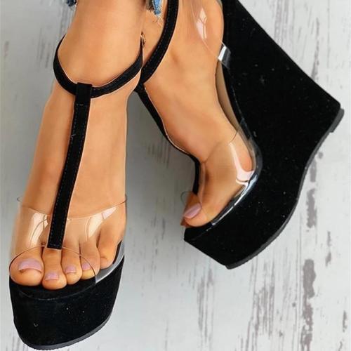 T-strap Wedges Buckled Ankle Strap Black Slingback Sandals