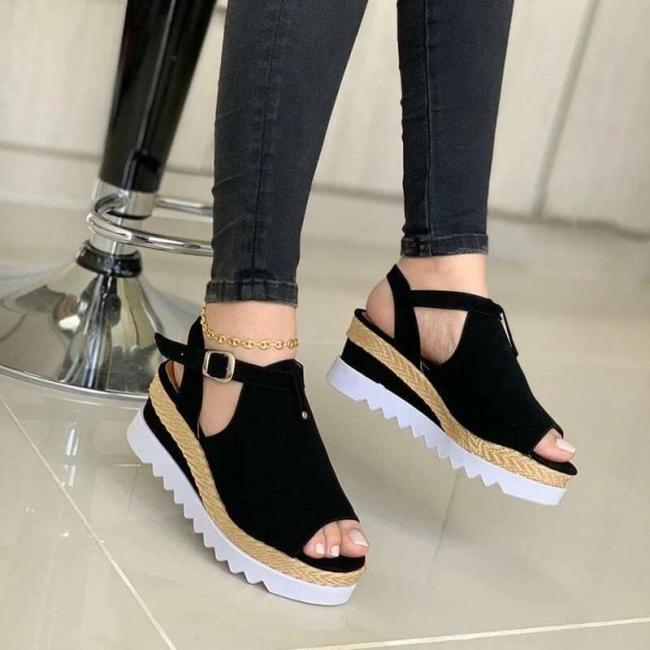 Women Hollow-out Peep Toe Buckle Strap Wedge Heel Sandals
