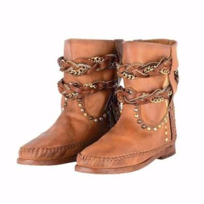 Plain Flat Round Toe Date Outdoor Flat Boots