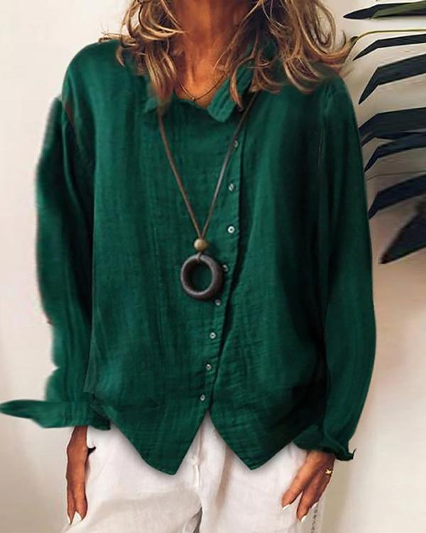 Women Casual Long Sleeve Irregular Shirt