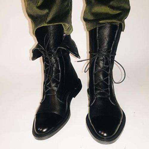 Women Comfy Lace Up Wedding Flat Heel Boots