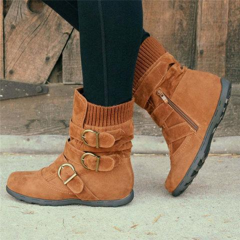 Cushioned Low-Calf Buckled Boots Low Heel Knitted Fabric Zipper Slip On Boots