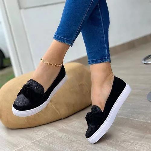 Women's Flats Leatherette Sparkling Glitter Flat Heel Loafers