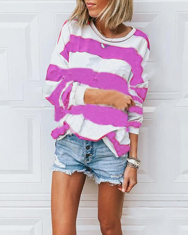 Women's Loose Round Neck Long Sleeve Striped T-shirt Tops