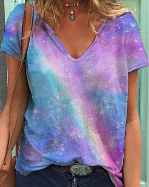 Gradient Print Paneled V-neck Short Sleeves Casual T-shirt