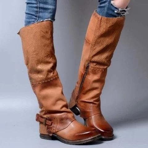 Womens Western Cowboy Knee Boots Riding Punk Buckle Boots