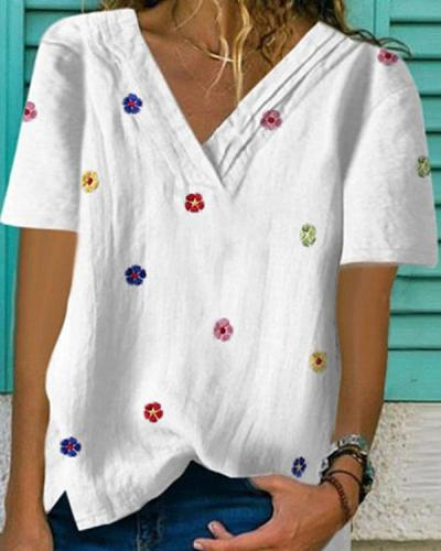 Short Sleeve V Neck Shirts & Tops