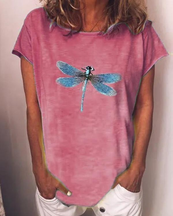 Summer Casual Dragonfly Printed O-Neck Short Sleeve Cotton T-Shirt