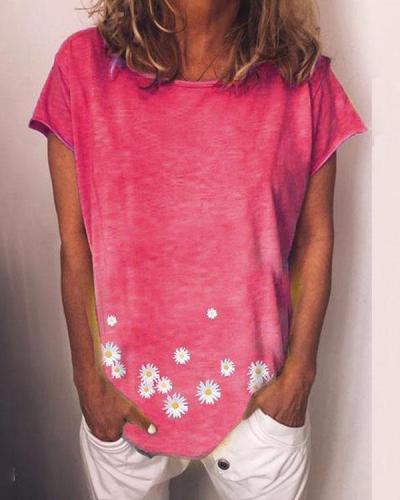 Daisy Printed T-shirts Short Sleeves Tops