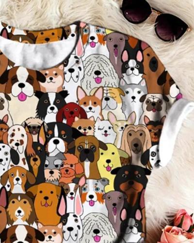 Animal-Print Crew Neck Short Sleeve Shirts & Tops
