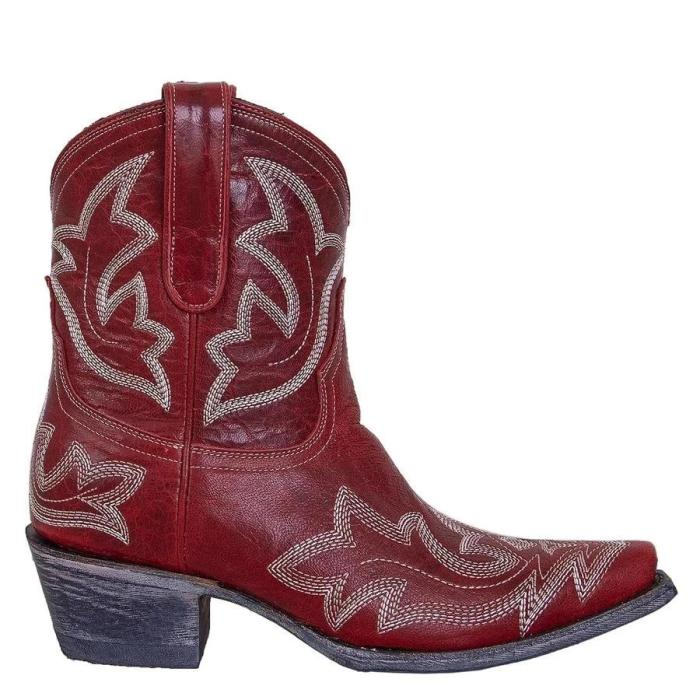 Retro Embroidery Ankle Booties Slip-on Women Cowboy Boots