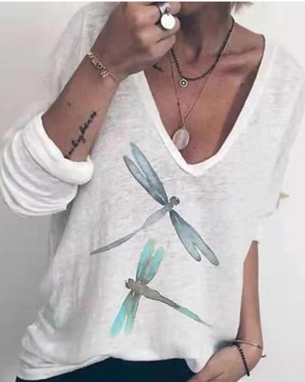White Floral-Print Casual Long Sleeve Animal Shirts & Tops