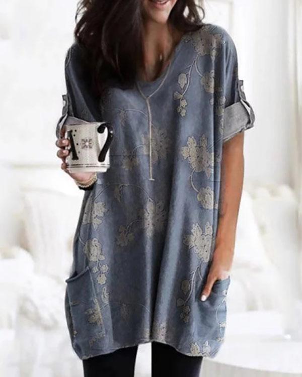 Temperament Printed V-Neck Loose Long Sleeve T-Shirt