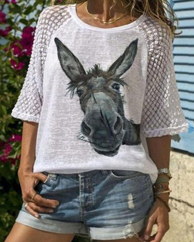 Cute Donkey Head Printed Lace Patchwork Short Sleeve T-shirt