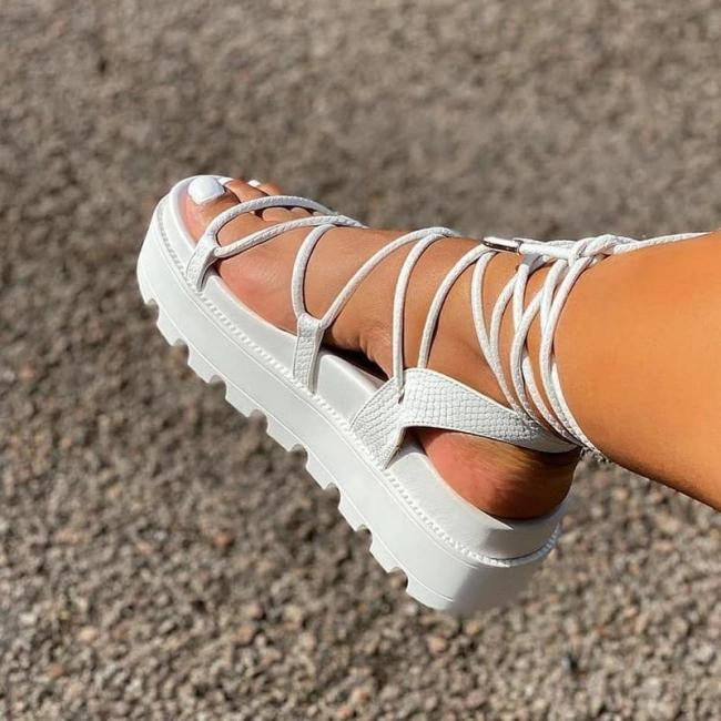 Open Toe Lace-Up Strappy Plain High Shaft Sandals