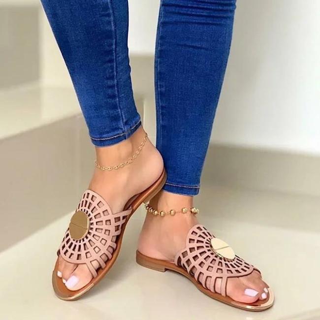 Flat Heel Slide Sandals