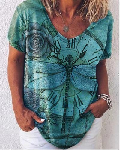Dragonfly Printed Short Sleeve Loose T-shirts