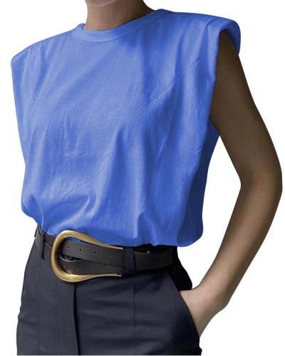 Padded Shoulder Sleeveless T-shirt