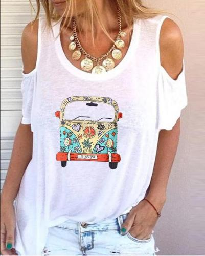 Cartoon Car Printed Open Shoulder T-shirt
