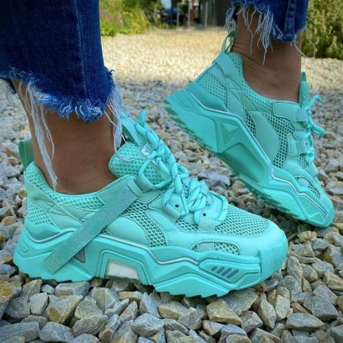 Fashion Lake Blue Lace Up Cargo Sneaker
